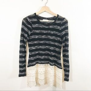 Altar'd State Striped Sweater with Lace Hem Small
